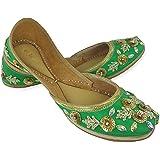 Fulkari Women's Soft Leather Bite and Pinch Free Marigold Gold Flat Jutti Ethnic Shoe