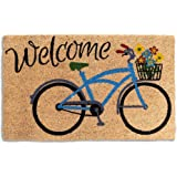 Avera Products   Welcome Bike with Flowers, Natural Coir Fiber Doormat, Anti-Slip Mat Back