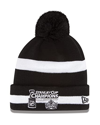 aeac9b7842a ... top quality nhl los angeles kings 2014 stanley cup champs striped pom knit  beanie one size