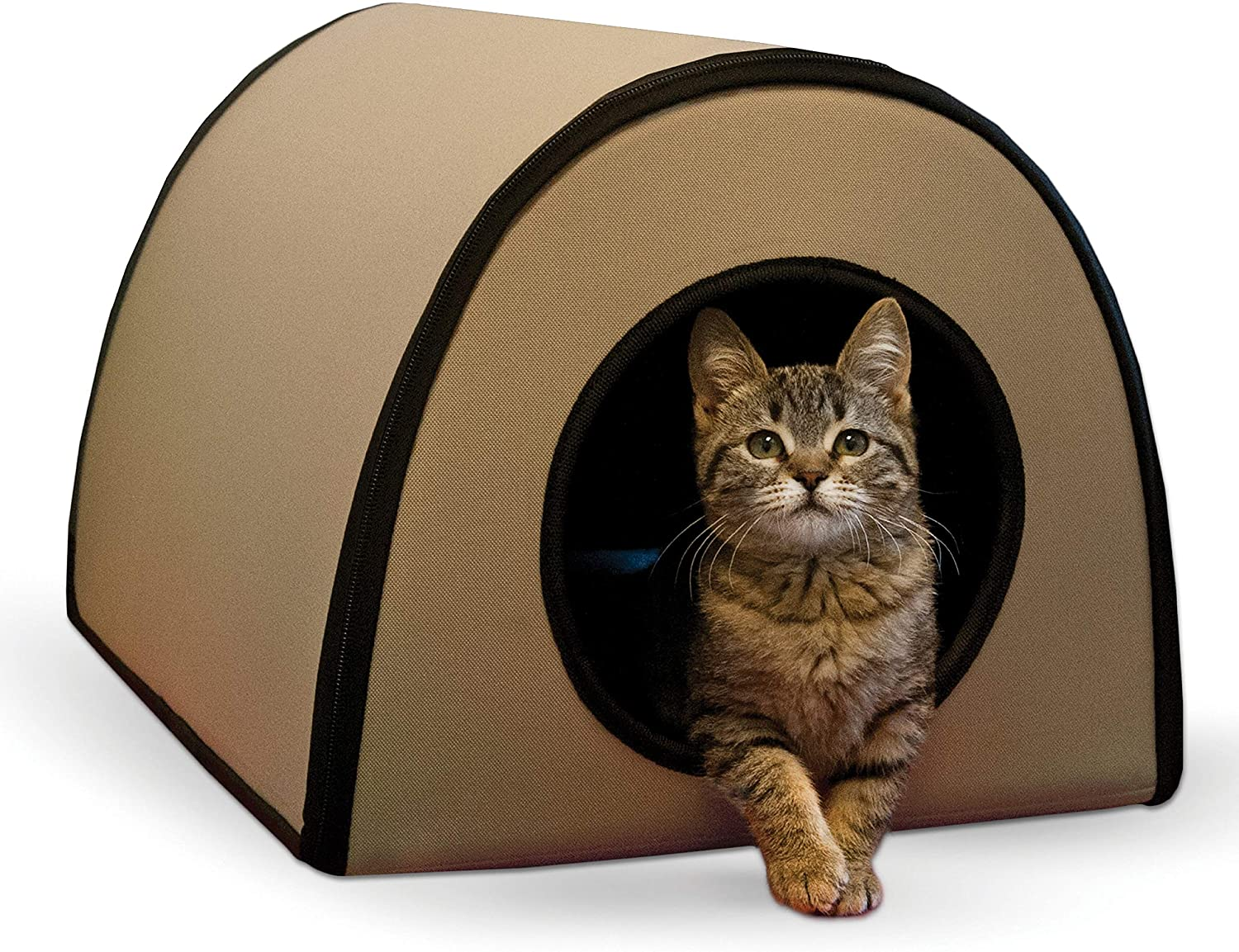 K H Pet Products Mod Thermo Kitty Heated Shelter Tan 21 X 14 X 13 25w Great For Outdoor Cats Pet Supplies