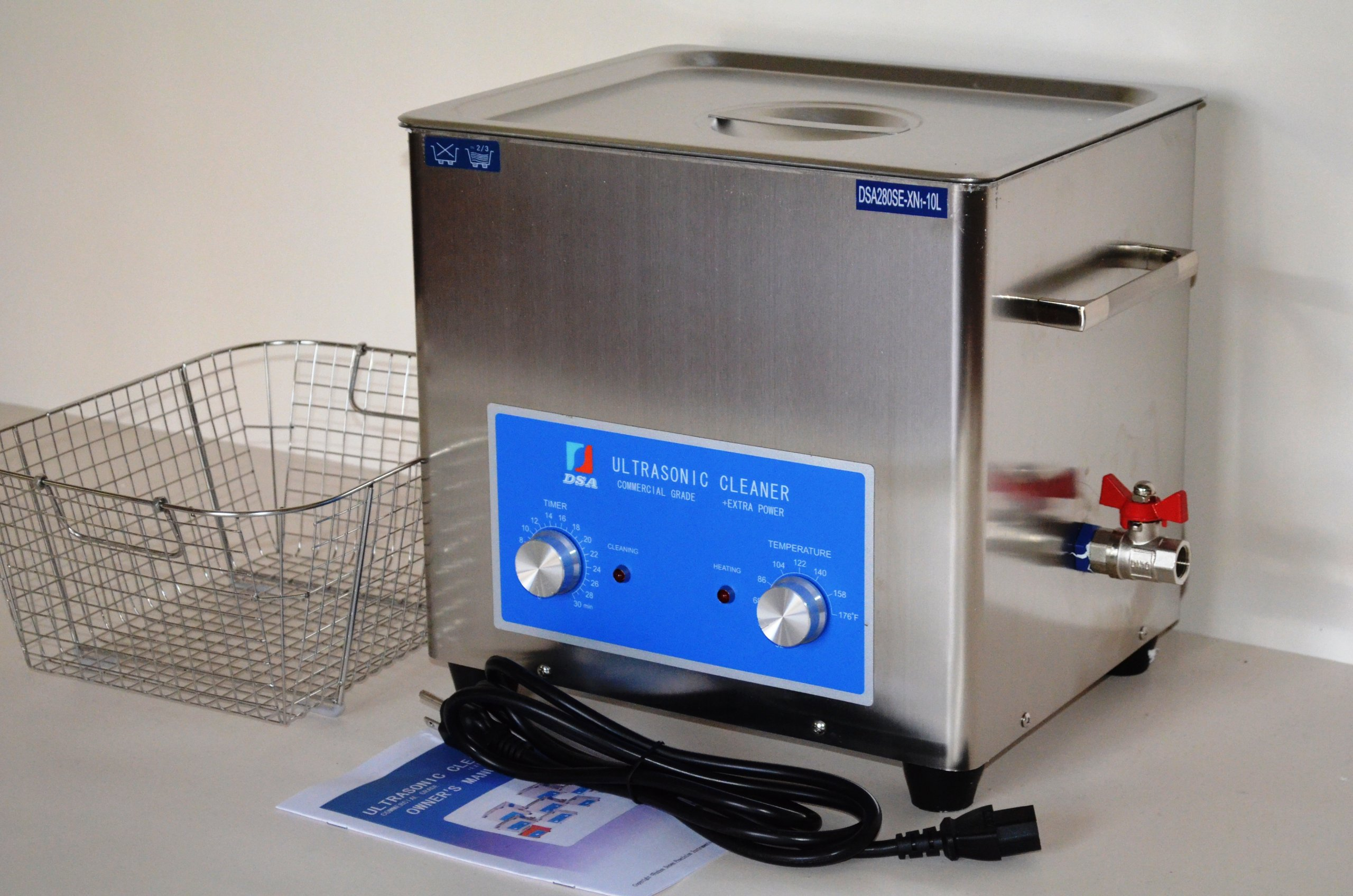 FULL SET: DSA280SE-XN1 10L 2.6 Gal 880W 40 KHz HEATED INDUSTRIAL STAINLESS STEEL ULTRASONIC PARTS CLEANER WASHER MACHINE WITH INBOARD BASKET AND TOP COVER LID PROFESSIONAL JEWELRY DENTAL TATTOO CAR REPAIR SHOPS USE