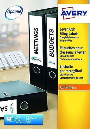 Avery Zweckform L4760-25 - Pack de 25 hojas de etiquetas para archivadores, 192 x 38 mm, color blanco: Amazon.es: Oficina y papelería