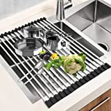 "Dish Drying Rack 17.6"" x 16"", G-TING Over Sink Roll Up Large Dish Drainers Rack, Multipurpose Foldable Kitchen Sink Rack Mat"