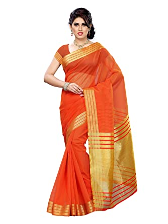 7206779576 MIMOSA Chiffon Art Silk Saree With Blouse Piece(Prs2-Rd-Orng_Red  Orange_Free Size): Amazon.in: Clothing & Accessories