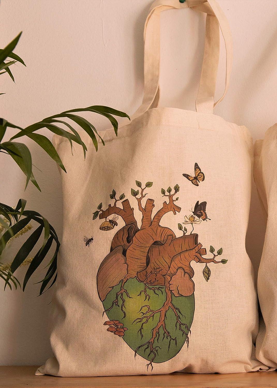Corazón terrestre, Tote Bag. Bolsa ecológica 100% hecha de algodón ...