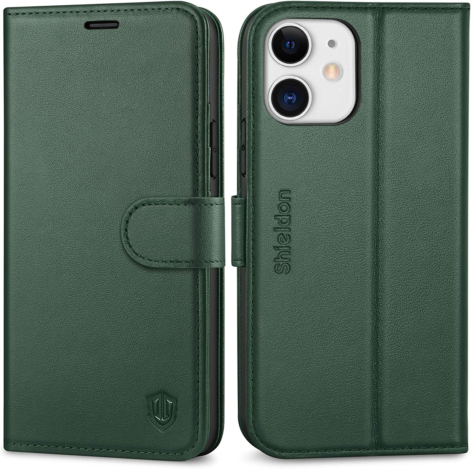 "SHIELDON Case for iPhone 12/12 Pro, Genuine Leather Wallet Case with Kickstand and RFID Blocking Credit Card Slots Magnetic Closure Compatible with iPhone 12/12 Pro 5G (6.1"" 2020) - Midnight Green"