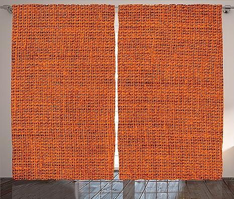 Colore: arancione bruciato Decor tende Faded Burlap texture stampa ...