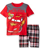 Disney Boys' 2 Piece Cars Lightening McQueen Screened Patches To Plaid Short