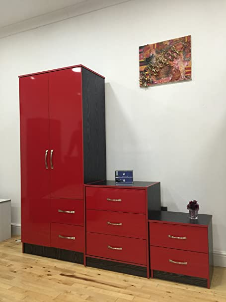 red high gloss furniture. Marina High Gloss Bedroom Furniture Set - 3 Piece Wardrobe Chest Bedside Cabinet#Red And Red I