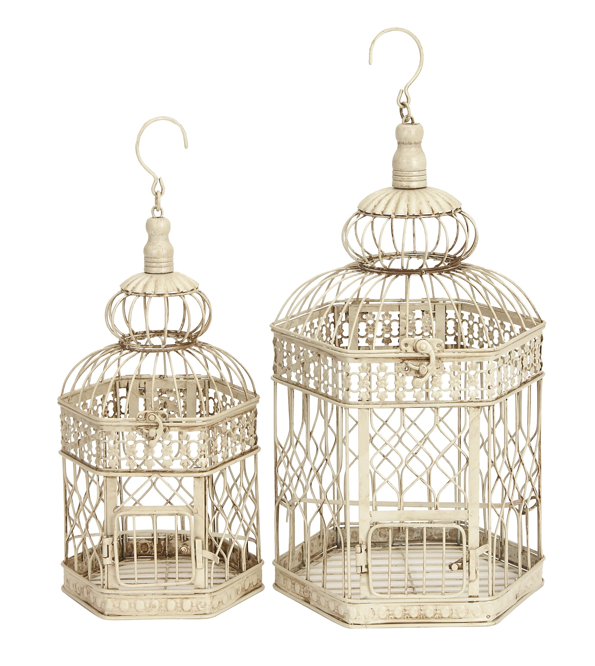 Deco 79 Metal Bird Cage, 21-Inch and 18-Inch, Set of 2 by D'Eco