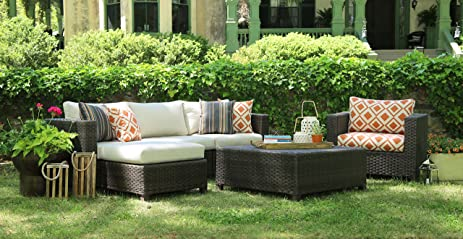 AE Outdoor All Weather Wicker Biscayne Deep Seating Sofa Set With Sunbrella  Fabrics, Brown