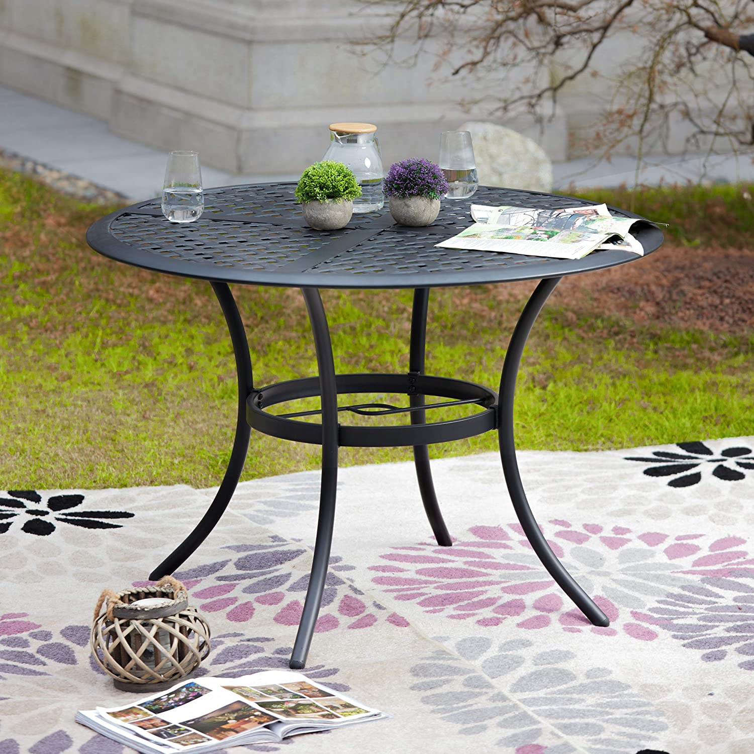 LOKATSE HOME 42.1'' Outdoor Patio Bistro Metal Wrought Iron Round Dining Table with Umbrella Hole, Black