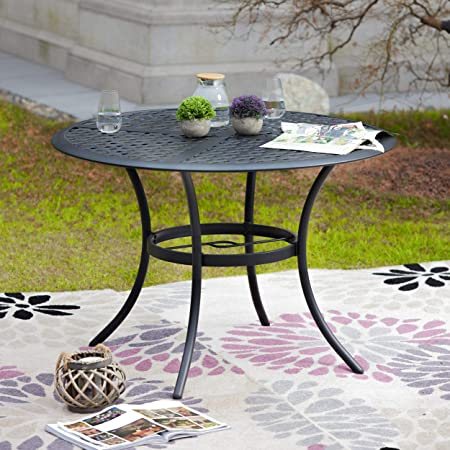 LOKATSE HOME 42.1 Outdoor Patio Bistro Metal Wrought Iron Round Dining Table with Umbrella Hole, Black