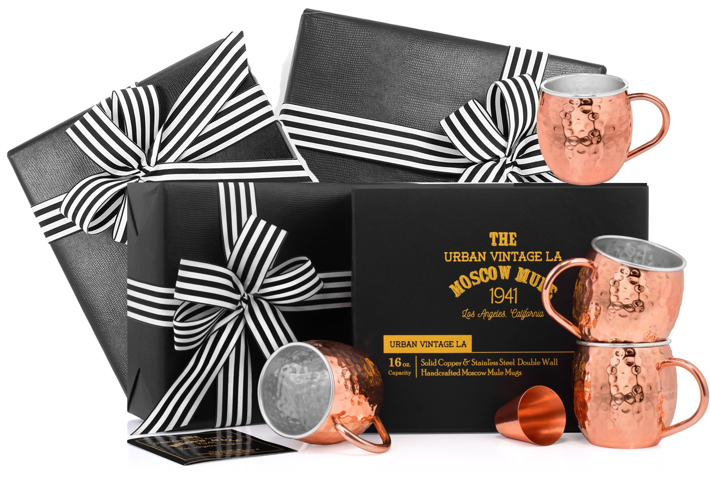 Gift Wrapped Set of 4 Moscow Mule Copper Mugs with Stainless-Steel Lining | Large Gift Box Includes 4 Double Wall Copper Mugs, Shot Glass & Cocktail Recipe Book | Premium, Hammered, Heavy-Duty Cups
