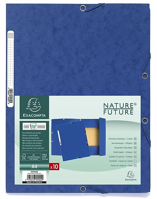 Exacompta Europa A4 3 Flap Pressboard Portfolio File Blue Pack Of