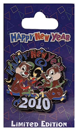 disney pin happy new year 2010 chip and dale