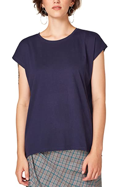 edc by Esprit 088cc1k003, Camisa Manga Larga para Mujer, Azul (Navy 400)