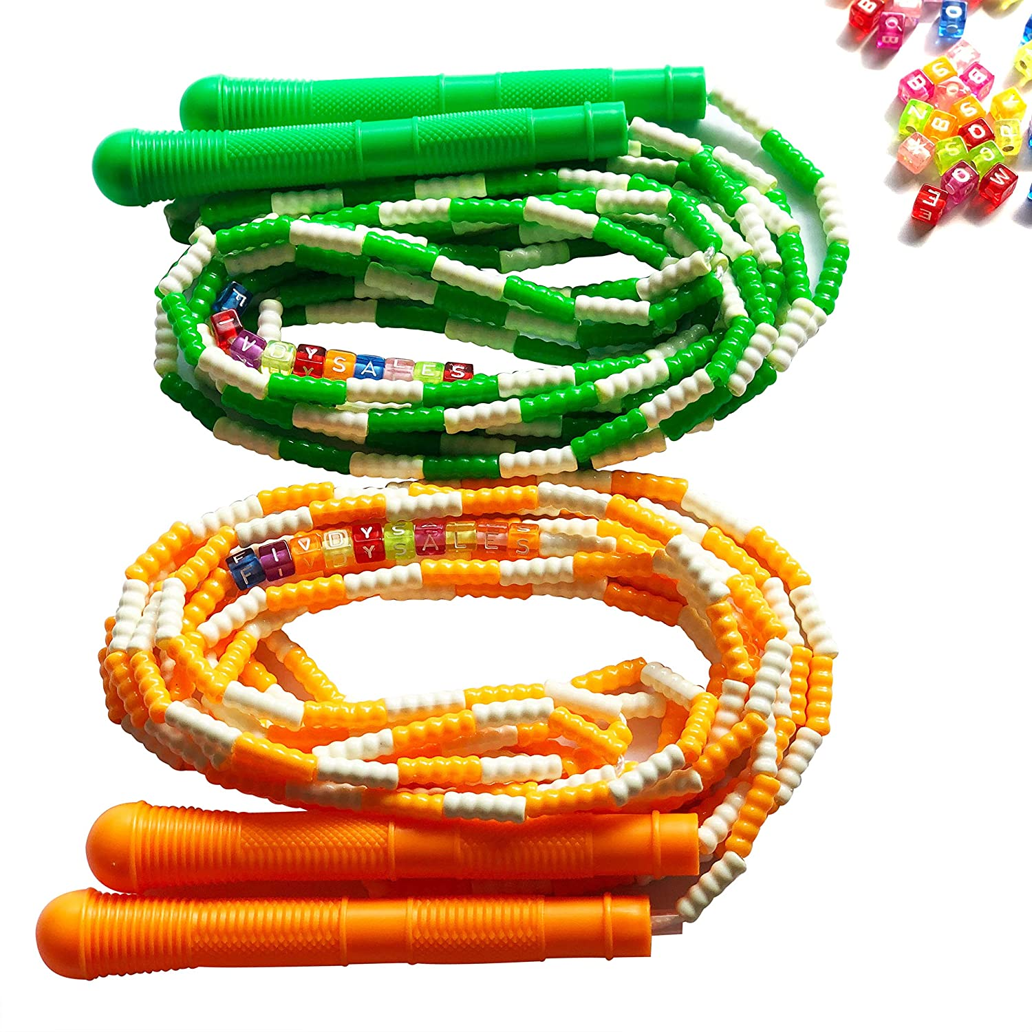 Personalized Name with 100 Colorful Letter Beads Double Dutch Jump Rope 16Ft 2 Pack Durable Soft Beaded Long Jump Rope Right Size and Weight for Double Dutch Prefect Gift for Birthday Christmas