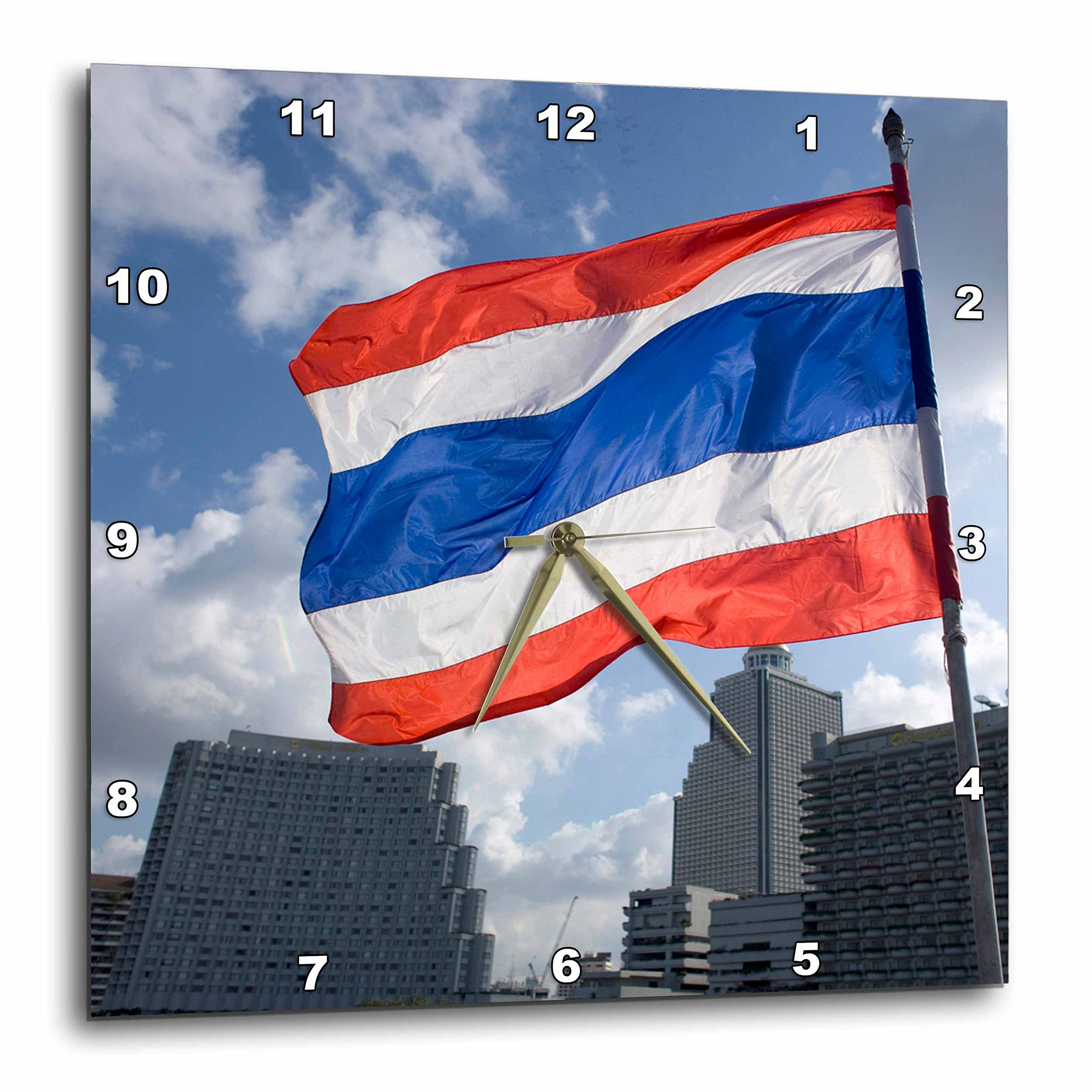 3dRose dpp_72068_3 Thai Flag & Kings Flag, Thailand-As36 Ryo0049 Russell Young Wall Clock, 15 by 15''