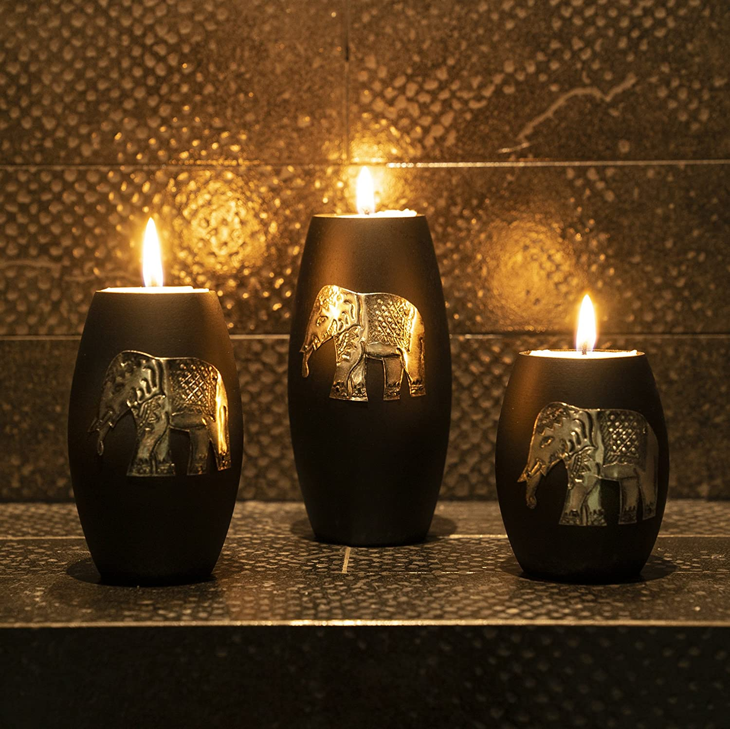 Iyara crafts 3 wooden candle holders with candle tray decorative candle holders with inlaid aluminium