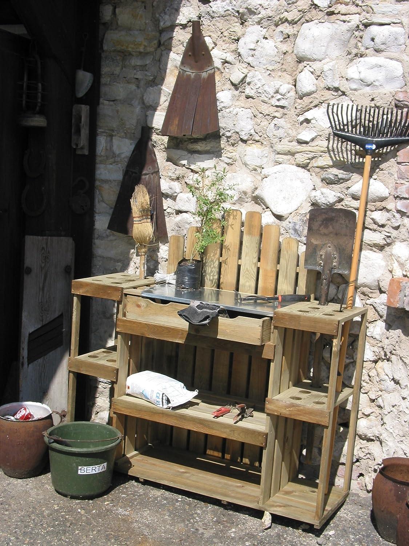 Pflanztisch Gartenwerkbank mit Schubladen