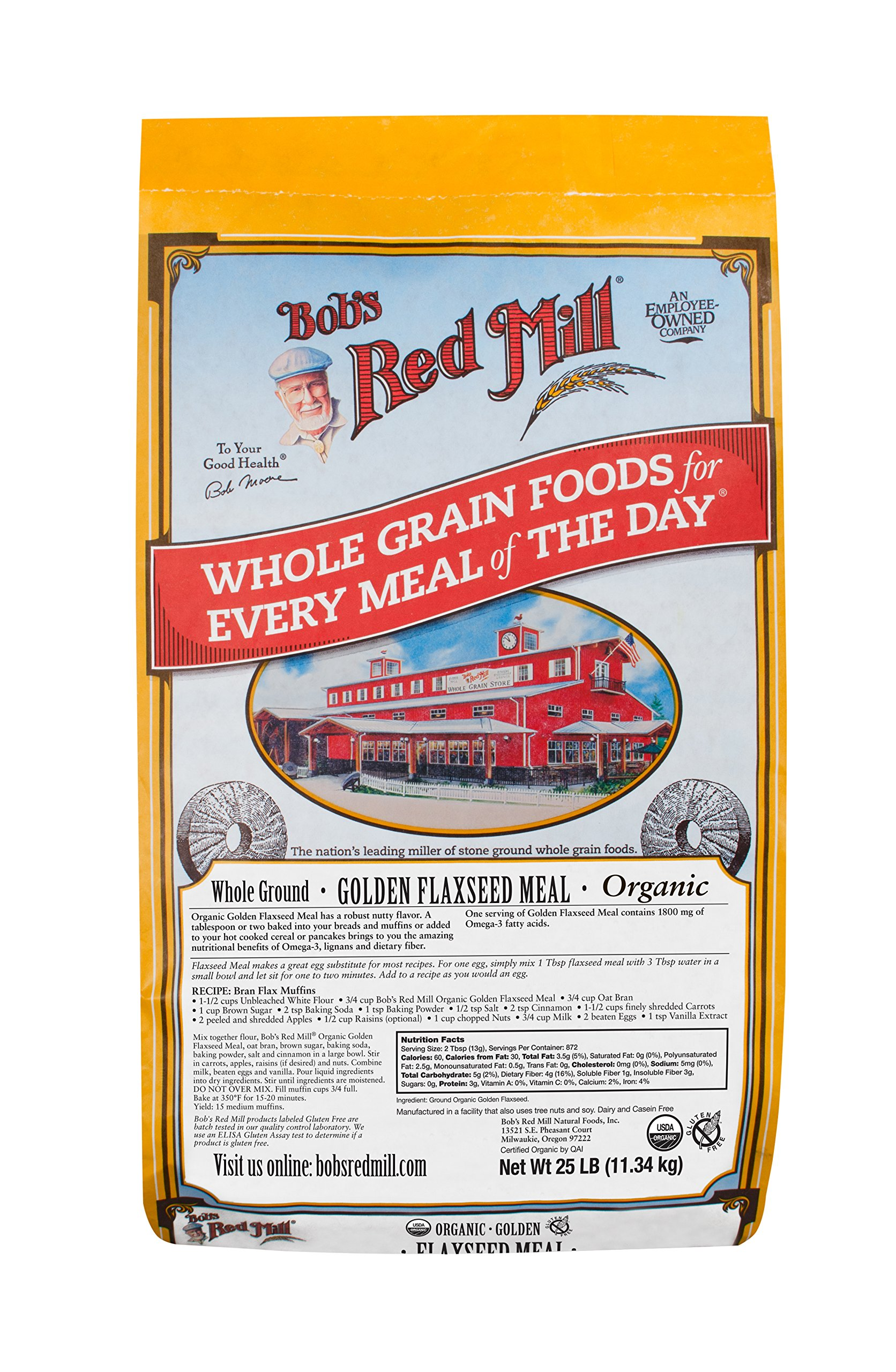 Bob's Red Mill Flaxseed Meal, Golden, Organic, 25 Pound