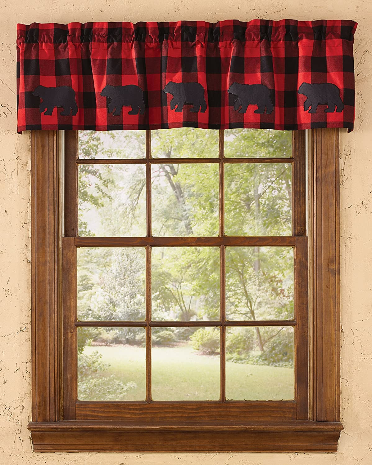 "Park Designs Buffalo Check Bear Lined Valance 60"" x 14"""
