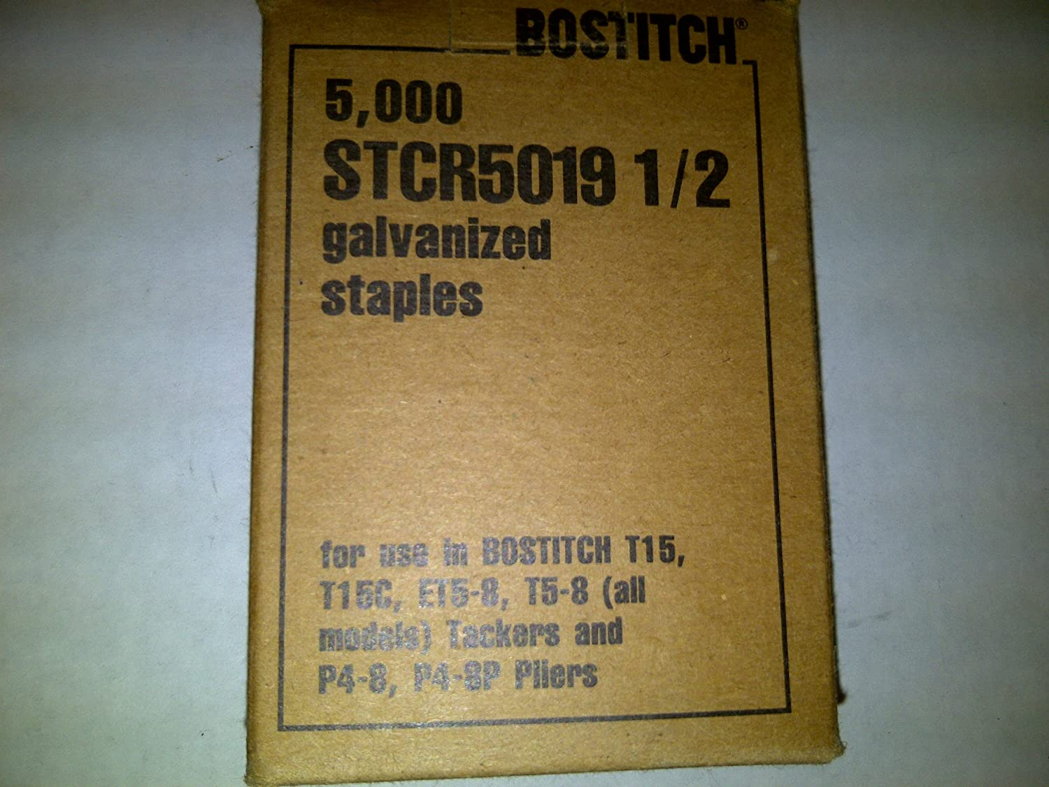 Bostitch Staples: Galvanized Staples Bostitch STCR5019 1/2' 5,000 per box. For T15, T15C, ET5-8, T5-8 (all models) Tackers and P4-8, P4-8P Pliers. Made in USA 6CE3812