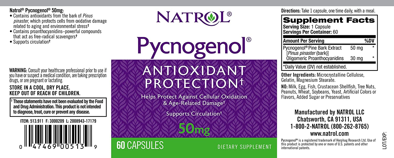 Amazon Com Natrol Pycnogenol 50mg Capsules 60 Count Natrol