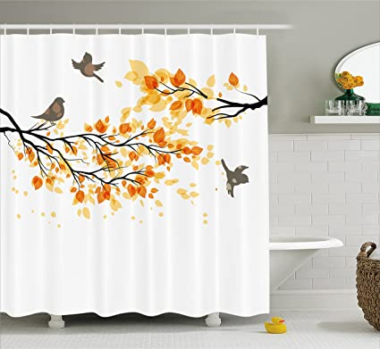 Ambesonne Fall Shower Curtain Branch With Pale Leaves And Birds Natural Change In Season