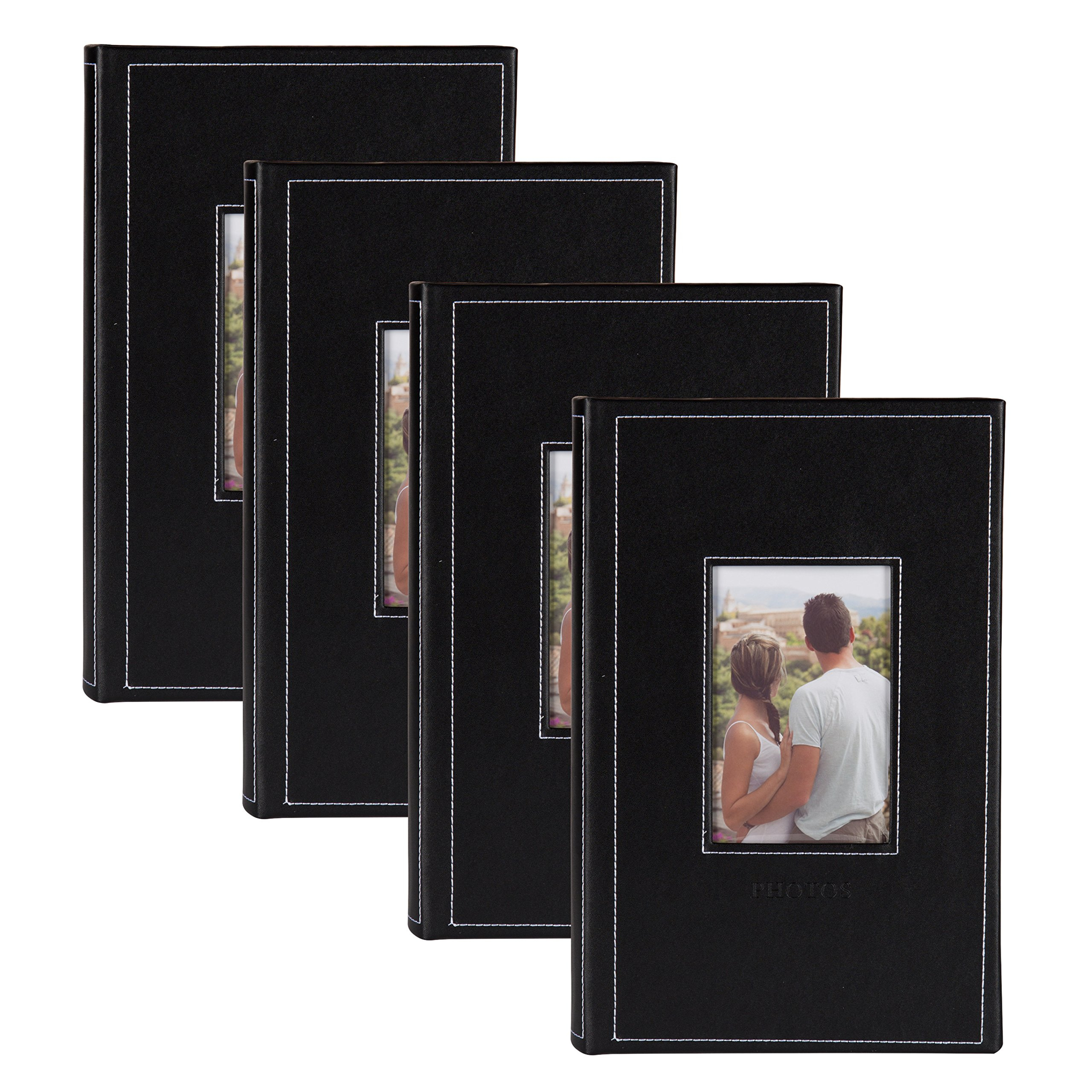 DesignOvation Debossed Black Faux Leather Photo Album, Holds 300 4x6 Photos, Set of 4