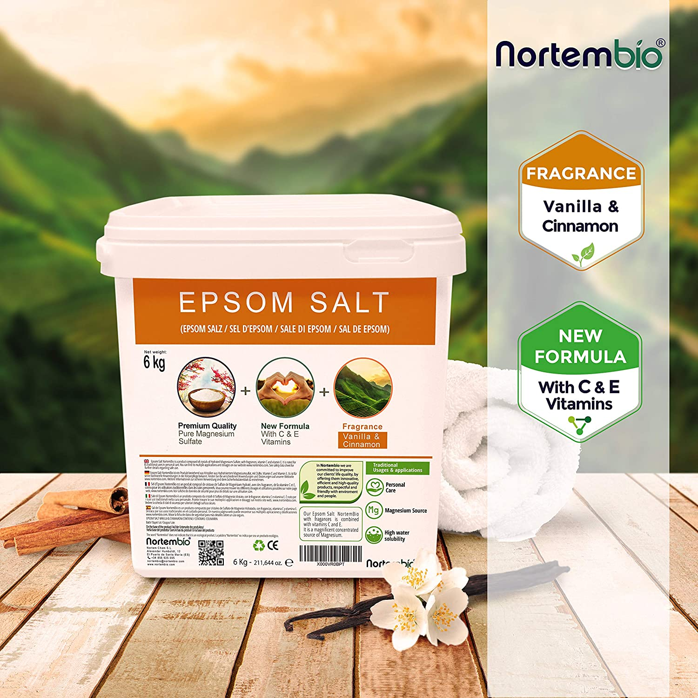 Nortembio Sal de Epsom 6 Kg. Novedosa Fragancia de Vainilla y Canela. Hidratada con Vitamina C y E. Sales de Baño y Cuidado Personal.: Amazon.es: Hogar