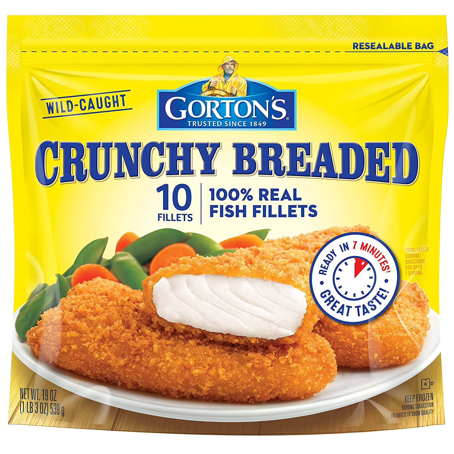 Gorton's, Crunchy Breaded Fish Fillets, 19 oz (Frozen)