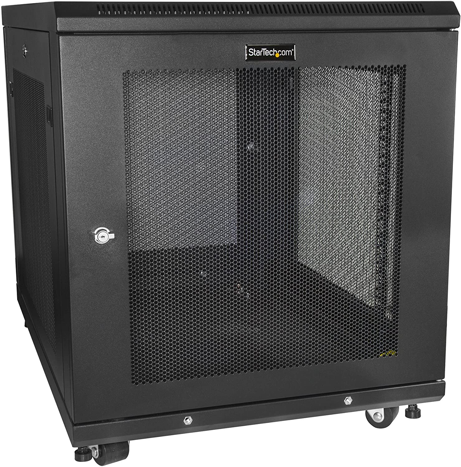 "StarTech.com 12U Server Rack Cabinet - 4-Post Adjustable Depth (2"" to 30"") Network Equipment Rack Enclosure w/Casters/Cable Management/Shelf/Locking Dell PowerEdge HP ProLiant ThinkServer (RK1233BKM)"