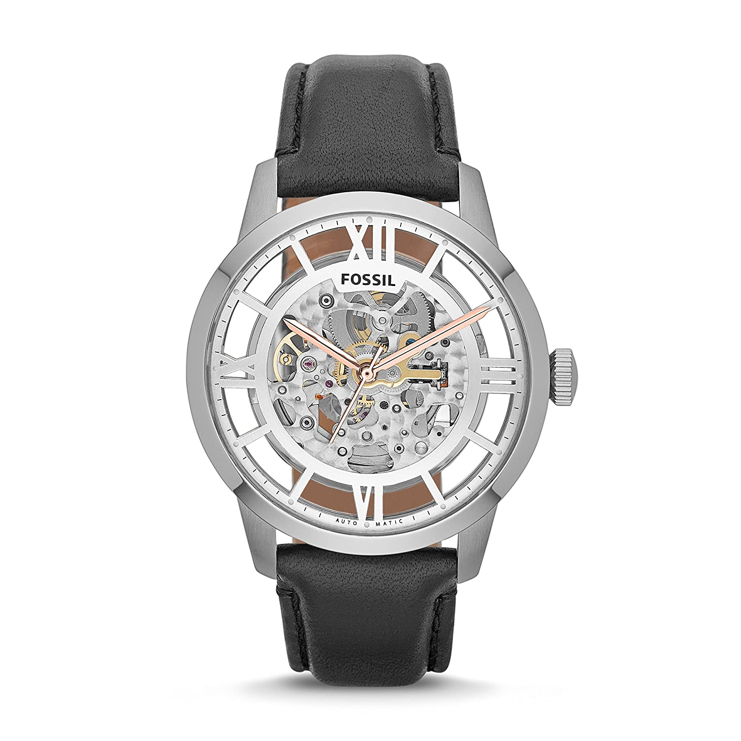 Fossil Men's Townsman Watch, Automatic Watch, Silver Watch, Leather Watch, Skeleton Watches