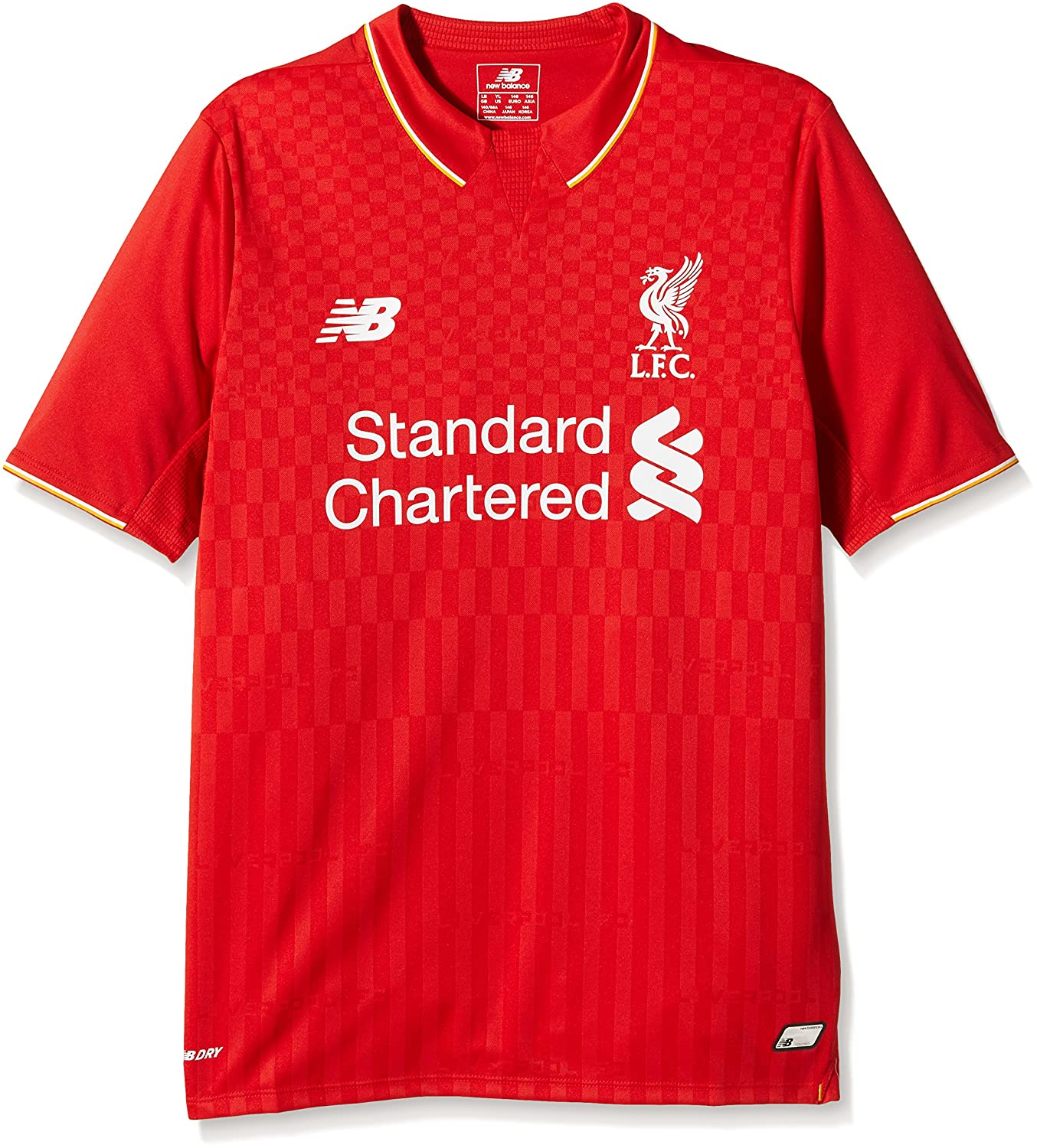 a3648e2ec Amazon.com   New Balance Liverpool FC Home Junior SS Jersey  Red ...