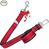 PetsLovers Durable Dog Seatbelt - Heavy Duty Strap, Reflective Lines, 2 Adjustable Sizes (15-25in or 22-37in)