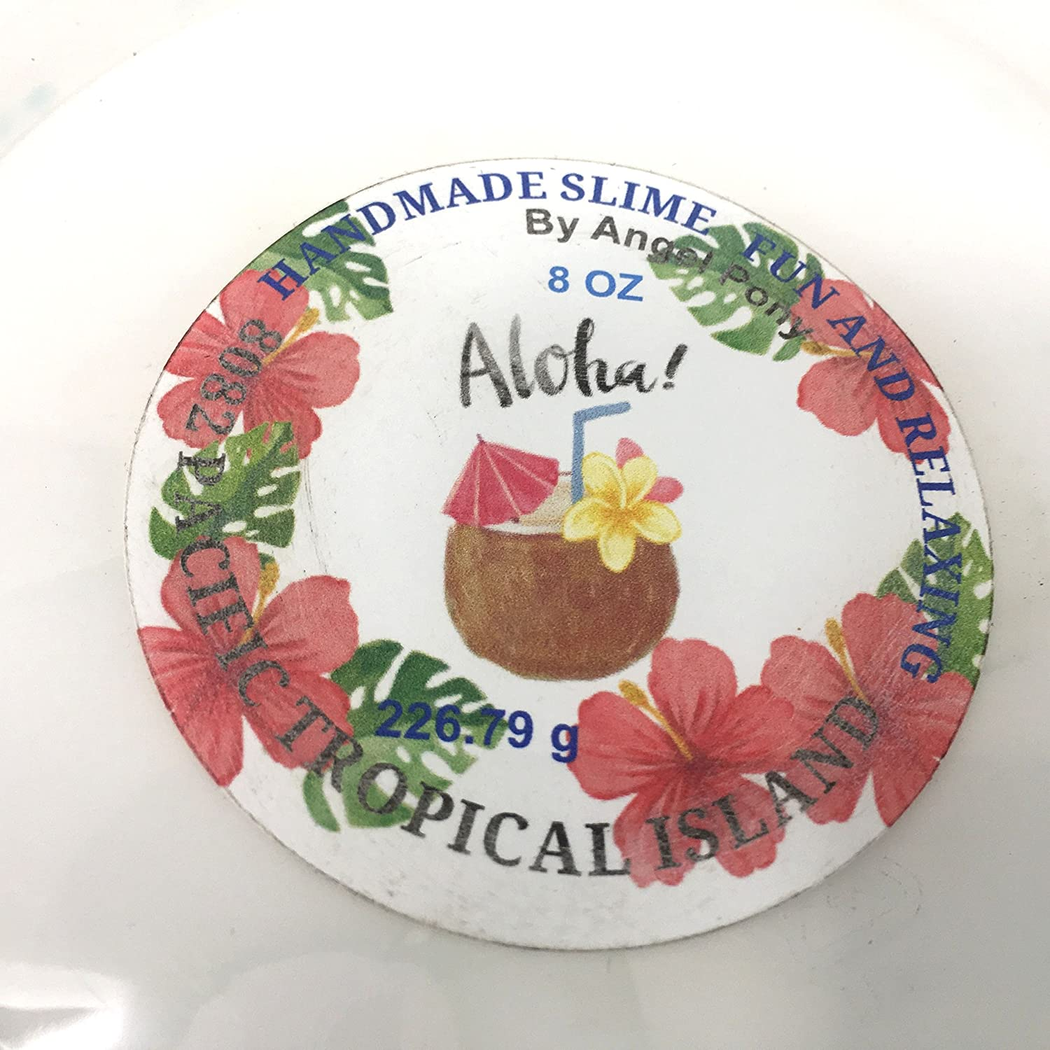 Aloha Pacific Tropical Island slow pull slime sweet fruits and flowers 8 oz container