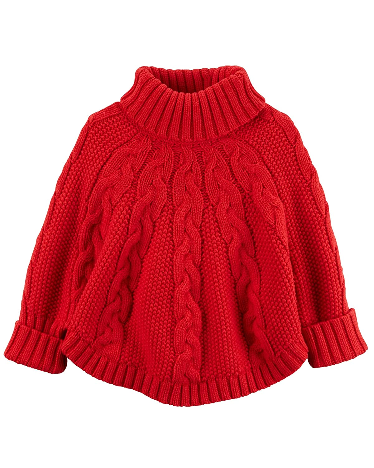 Carter's Big Girls' Poncho Turtleneck Sweater (8, red)