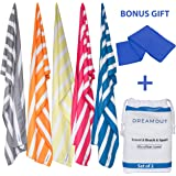 Microfiber Beach Towel Set, Large and Small, Ultra Soft, Quick Drying Striped Towels In 5 Colors, Highly Absorbent, Sand-Proof and Lightweight, For Women, Men and Kids