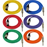"GLS Audio 6ft Patch Cable Cords - XLR Male to 1/4"" TRS Color Cables - 6' Balanced Snake Cord - 6 Pack"