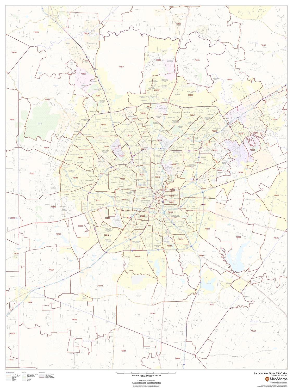 Amazon.com : San Antonio, Texas Zip Codes - 36 x 48 inches - Paper ...