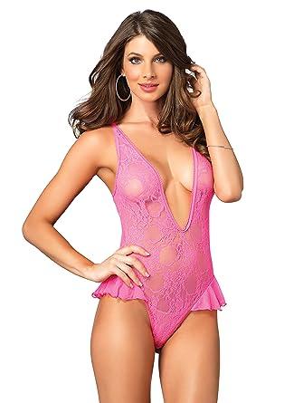 af56faee55 Leg Avenue Lingerie Collection Universal Pink Deep-V Lace Flutter Teddy
