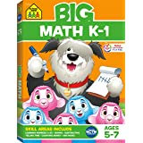 School Zone - Big Math K-1 Workbook - Ages 5 to 6, Kindergarten, 1st Grade, Numbers 0-20, Addition, Subtraction, Shapes & Pat