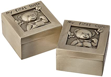 Baby New First Tooth And Curl Packed In Box Pewter Engrave Christening Baby Shower