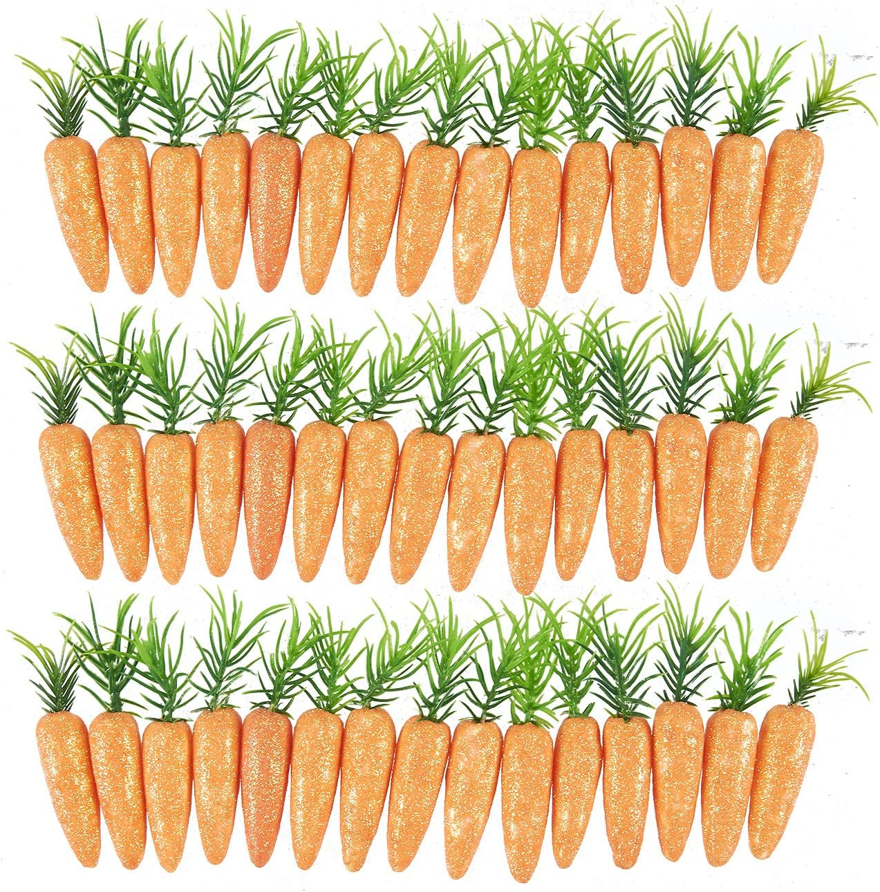 Juvale Fake Carrots – 45 Pack Artificial Carrots - Sparkling Foam Baby Carrots - Great for Craft DIY, Home Decor, Kitchen Decor, Party Decoration, Open Houses, Toy, 3 x 0.5 x 0.5 Inches