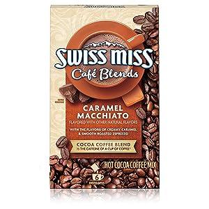 Swiss Miss Café Blends Caramel Macchiato Flavored Hot Cocoa Coffee Mix, 1.38 oz. 6-Count