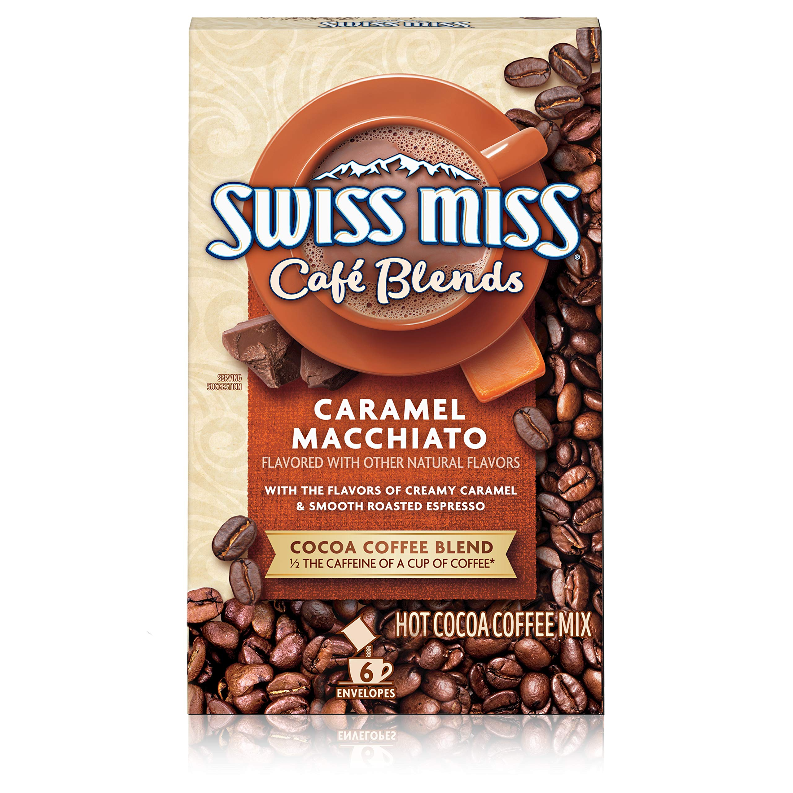 Swiss Miss Café Blends Caramel Macchiato Flavored Hot Cocoa Coffee Mix, 1.38 oz. 6-Count