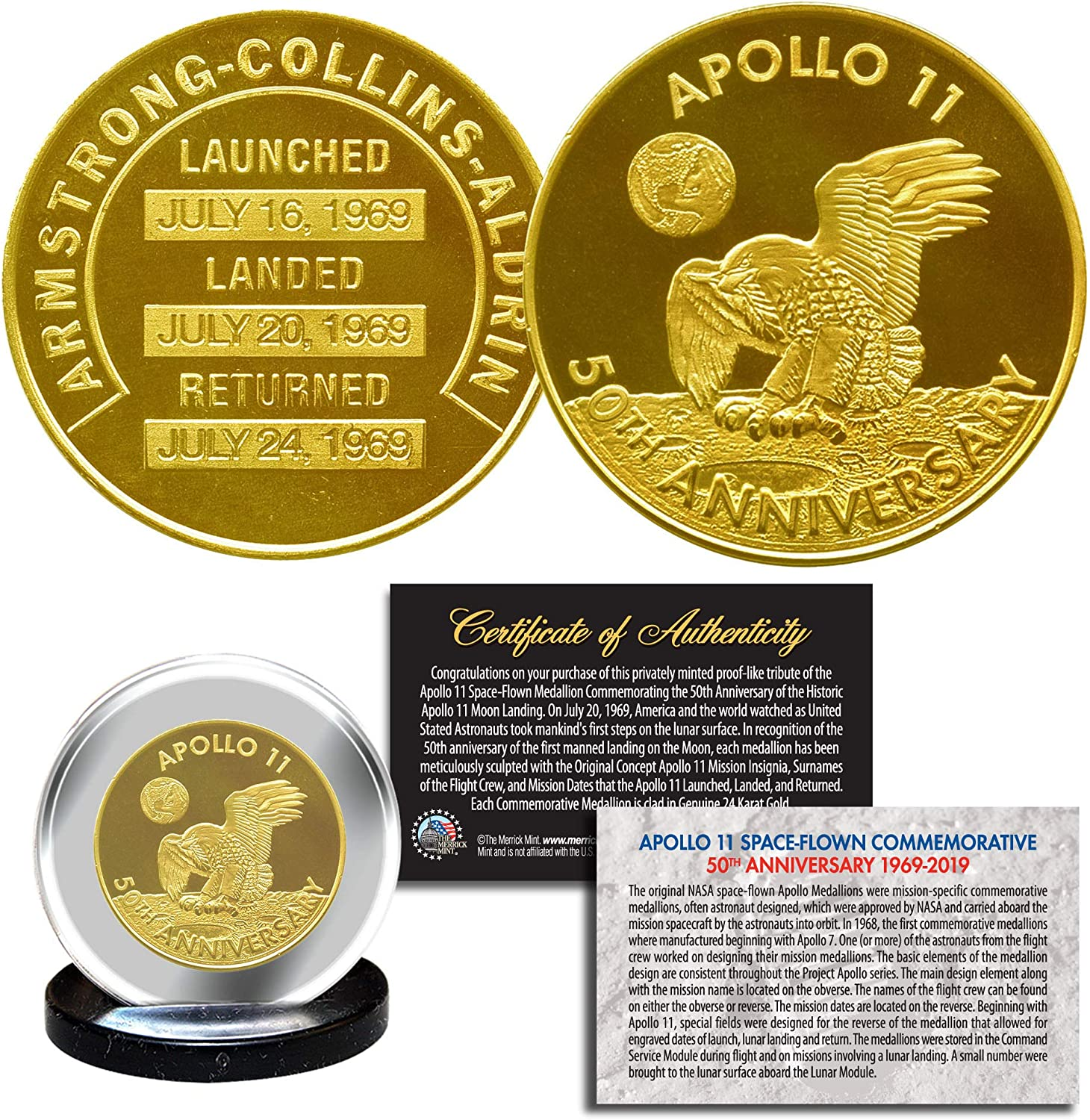 50th Anniversary of Moon Landings 999.9 Silver Plated Commemorative Coin
