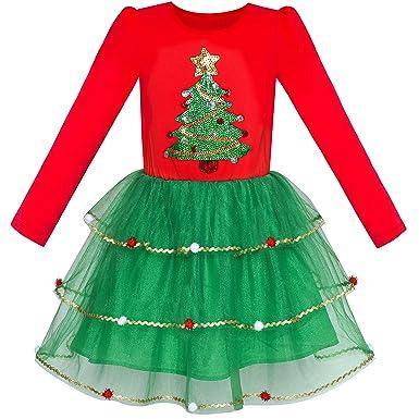 999398b0562db Sunny Fashion Robe Fille Noël Arbre Longue Manche Nouveau an Partie  Habiller 6 Ans